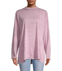 free people women's striped cotton top - dusted orchid - size s