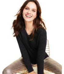 charter club cashmere-metallic v-neck sweater, created for macy's
