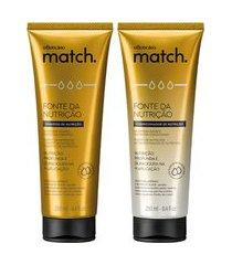 combo match fonte da nutrição: shampoo + condicionador