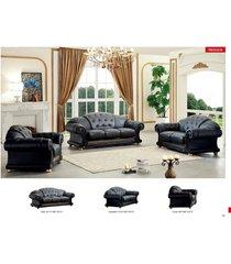 esf versachi classic black top grain italian leather living room sofa set 3pcs