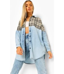 oversized spijkerblouse met geruit paneel, light blue