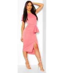 midi jurk met split en één open schouder, blush