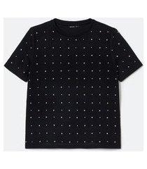 blusa manga curta com aplicação de pontos de luz | cortelle | preto | pp