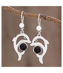 jade dangle earrings, 'black dolphin' (guatemala)