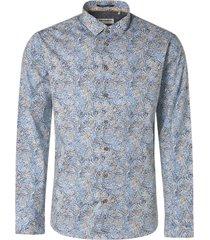 no excess shirt stretch allover printed indigo blue
