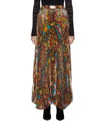 'katz' pleated floral-print metallic maxi skirt