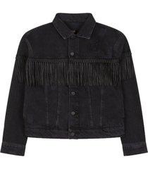 alix the label denim jacket with fringes