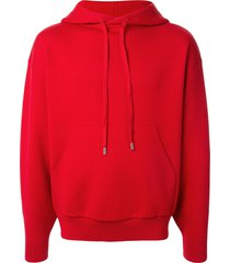 caban fine knit drawstring hoodie - red