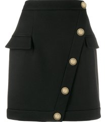 balmain button embellished short skirt - black