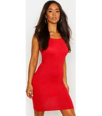 90s neck mini bodycon dress, red