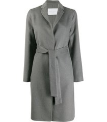 fabiana filippi belted single-breasted coat - grey