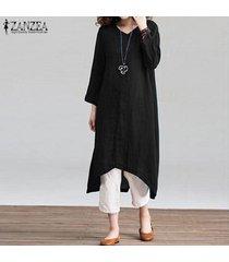 zanzea verano de las mujeres 3/4 longitud de la rodilla kaftan caftan vestido de tirantes con cuello en v vestido suelto -negro