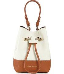 strathberry lana osette bicolor leather crossbody bucket bag - ivory