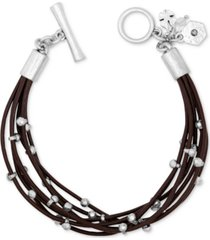 lucky brand silver-tone leather bracelet