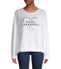 karl lagerfeld paris women's graphic heart logo sweatshirt - soft white - size xxs