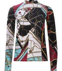camiseta cuello alto cadenas color negro, talla 8
