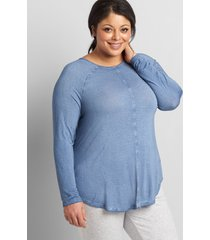 lane bryant women's livi washed slub tunic top 34/36 moonlight blue