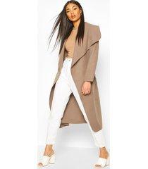 belted shawl collar coat, mocha