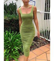 cuadrado fruncido verde cuello sin mangas vestido
