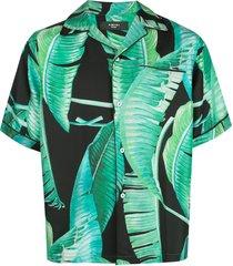 amiri banana leaf satin pajama shirt - blue