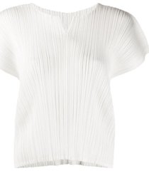 pleats please issey miyake micro-pleated short-sleeve top - branco