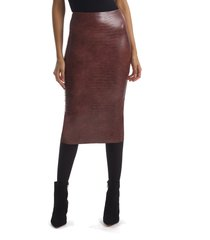 women's commando perfect control snake embossed faux leather pencil skirt, size medium - brown