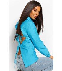 katoenen getailleerde poplin blouse met open rug, azure
