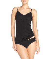 women's hanro seamless v-neck cotton camisole, size x-small - black