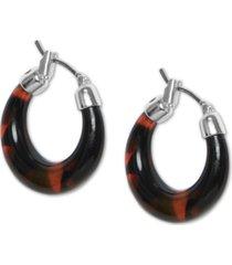 """lucky brand silver-tone medium tortoise-look hoop earrings, 1"""""""
