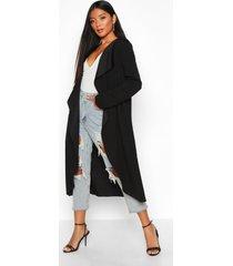 duster jas met waterval kraag, zwart