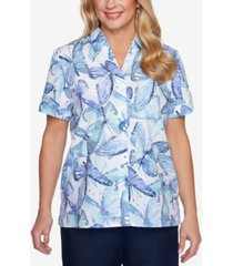 alfred dunner petite classics butterfly-print shirt