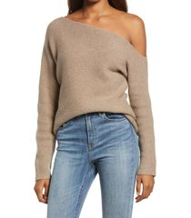 treasure & bond ribbed one-shoulder pullover, size small in brown shiitake heather at nordstrom