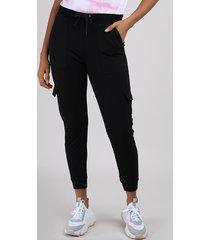 calça de moletom feminina cargo básica cintura média preta