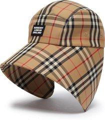 vintage check logo appliqué bonnet cap