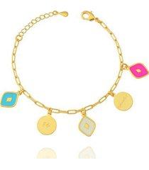 pulseira esmaltada fé saúde dona diva semi joias feminina
