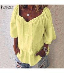 zanzea blusa de playa de retazos de encaje para mujer camisas de algodón holgadas ocasionales tops camisas -amarillo