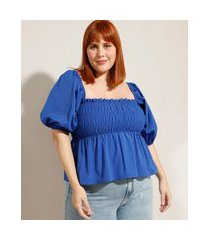 blusa plus size com lastex manga bufante decote reto mindset azul royal