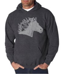 la pop art men's horse mane word art hooded sweatshirt