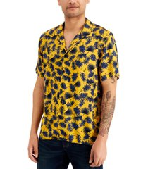 sun + stone men's leaf print camp shirt, created for macy's