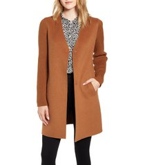 women's kenneth cole new york knit sleeve double face wool blend coat