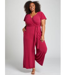 lane bryant women's flutter-sleeve faux-wrap jumpsuit 26/28 pickled beet