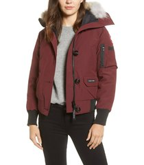 women's canada goose chilliwack fusion fit 625 fill power down bomber jacket with genuine coyote fur trim, size small - purple