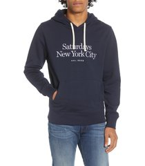men's saturdays nyc ditch miller embroidered pullover hoodie, size small - blue