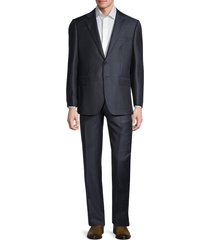 saks fifth avenue men's tailored-fit striped wool suit - navy - size 42 r