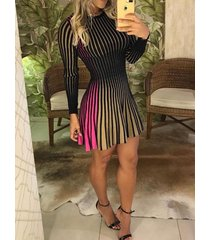multi color stripe round neck long sleeves pleated dress