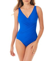 women's miraclesuit must have oceanus one-piece swimsuit, size 12 - blue