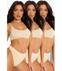 3 pack seamfree scoop bralette, nude