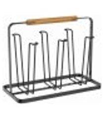 escorredor de copos organizador secador porta 6 copos de pia metalla yoi preto