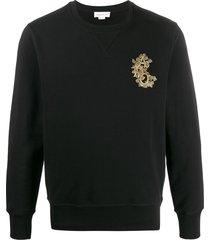 alexander mcqueen beaded logo patch sweatshirt - black