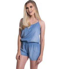 macaquinho jeans eventual 2205020026 com frente única azul m - feminino